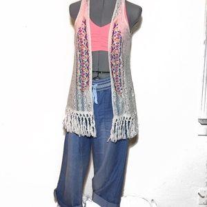 Festival Crochet & Embroidery Long Vest NO SIZE